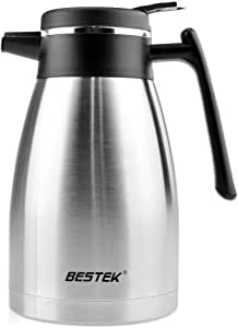 BESTEK Coffee Carafe Double Wall Vacuum Insulated Stainless Steel Thermal Carafe Heat Cold Retention Beverages Carafe For Coffee Milk Tea Fruit Juice With Lid Thermal Pitcher,50 Ounce