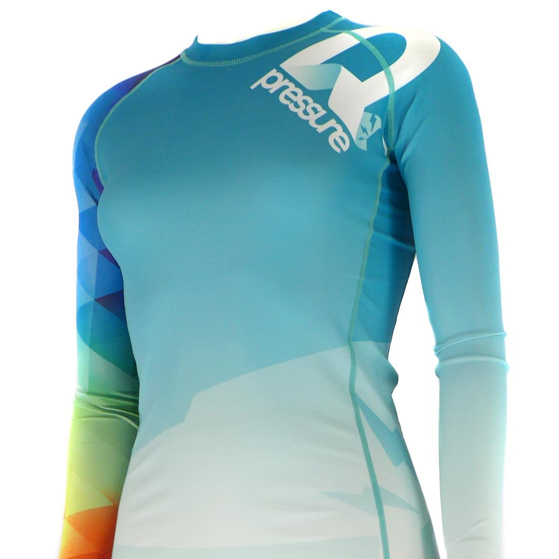 Pressure Grappling Women's Premium BJJ Long Sleeve Rash Guard with Lockdown Band (Trianglow v2.0, 2X Large)