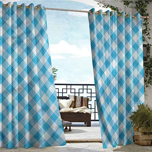 crabee Fashions Drape Checkered,Blue and White Plaid,W72 xL108 for Front Porch Covered Patio Gazebo Dock Beach Home