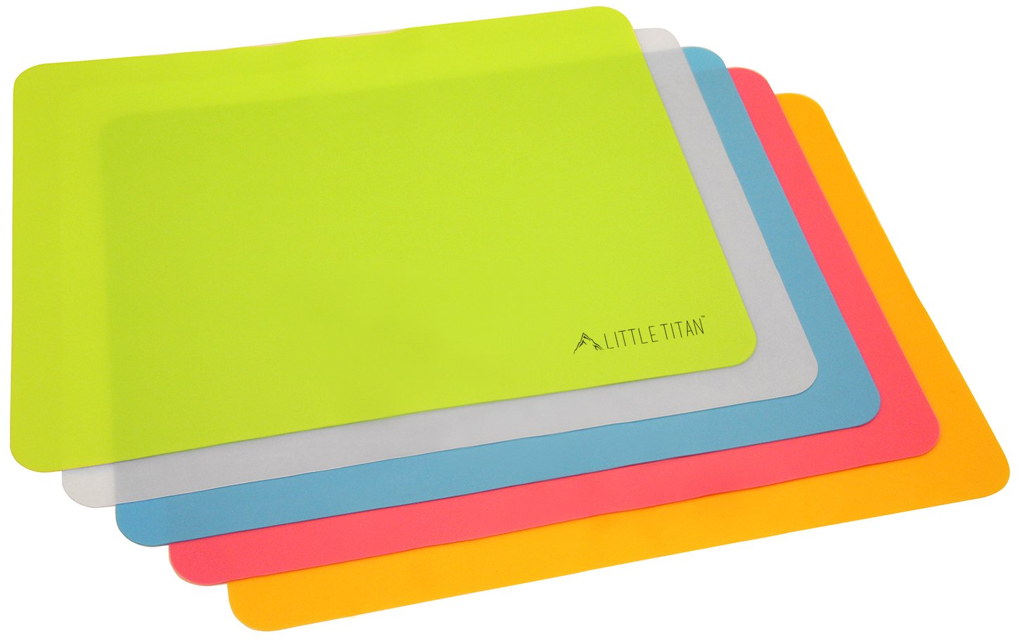 Thin and Portable Food Silicone Placemats for Kids and Babies, for Dining, Restaurants and more by Little Titan (5 Pack)