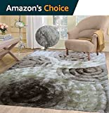 5×7 Beige Brown Cream Two Tone Color Shaggy Collection 3D Fluffy Fuzzy Design Soft Thick Plush Shimmer Shag Living Room Bedroom Rug ( SAD 419 Beige )