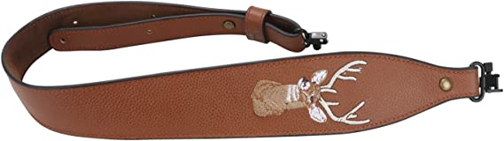 Tourbon Vintage Leather Deer Head Embroidery Padded Rifle Gun Sling Strap with Swivels