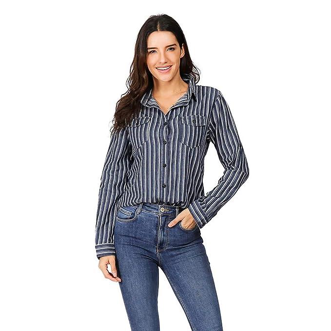 ZODOF Mujer Blusa Cuello En V Camiseta de Mangas Largas Camisa con Botones Camisa Casual Mujer Botón Cardigan Camisa a Rayas Top: Amazon.es: Ropa y ...
