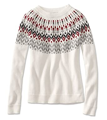 Orvis Fair Isle Sparkle Crewneck Sweater, Large at Amazon Women's ...