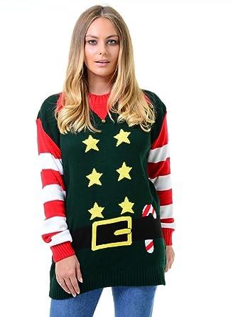 480411948775d Comfiestyle New Women s Kintted Christmas Xmas Elf Costume Baggy Jumper  Ladies Mini Dress. UK 8-22  Amazon.co.uk  Clothing