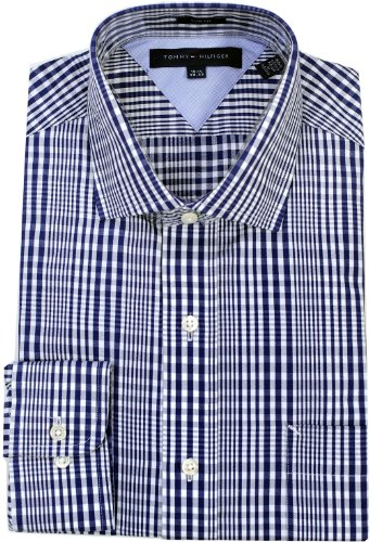 "Tommy Hilfiger Men's Slim Fit Modern Plaid Dress Shirt, Navy, 17"" 34/35"