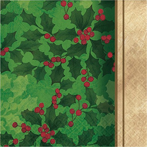 - Club Pack of 432 Green and Ivory Gilded Holly 2-Ply Lunch Napkin 12.875