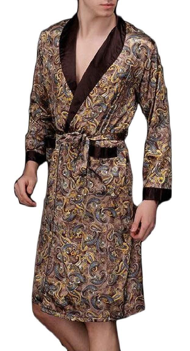 HTOOHTOOH Mens Long Sleeve Satin Kimono Robe Lightweight Bathrobe Pajamas