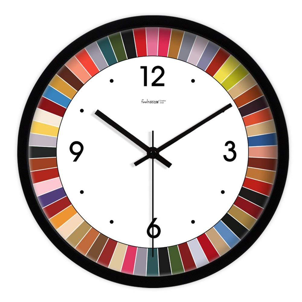 CWJ Clock- Wall Clock Metal Simple Personality Quiet Clock New Home Decoration Creative Living Room Clock Modern Minimalist Bedroom Mute Hanging Clocks Quartz Clock Wall Decoration Artwork,14 Inches,
