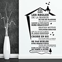 "Wall Stickers ""House Rules - French "" Wall Mural Removable Self-Adhesive Art Home Living Room Kitchen Décor Restaurant Cafe Hotel Decoration"