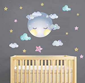 Moon Sticker Clouds Wall Decals Stars Wall Decals Kids Room Wall Decor Smiling Clouds Wall Sticker Removable Wall Art Decor