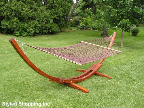 - Deluxe Wood Arc Hammock Stand + Two Person Brown Soft Polyester Rope Hammock