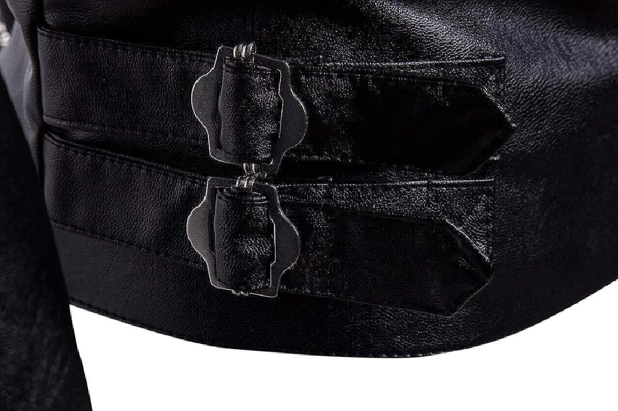 Unastar Men Faux Leather PU Slim Fit Zip Vogue Fall Winter Outwear Jacket