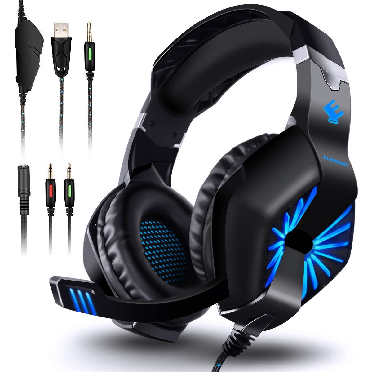 ELEGIANT Auriculares Gaming Cascos PC PS4 con Micrófono Led Cancelación de Ruido Sonido Envolvente para Xbox