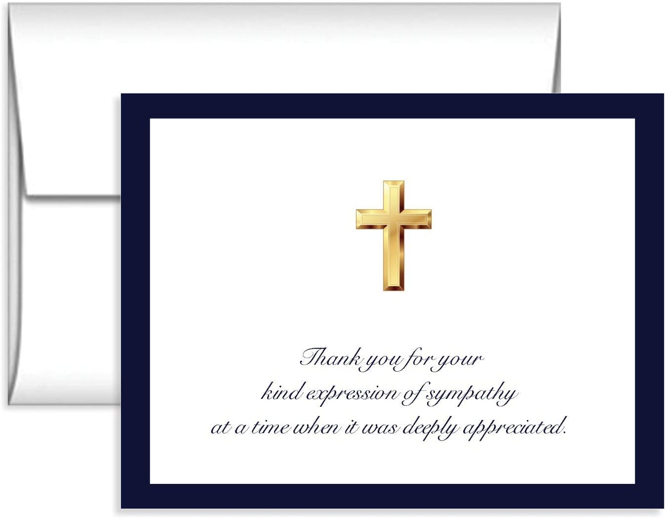 Impressions Religious 50 Cross Sympathy Acknowledgement Cards, Navy Border, Cross Funeral Thank You Notes, Folded, Includes Envelopes