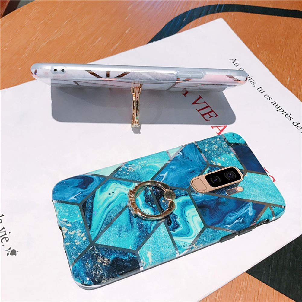 Herbests Kompatibel mit Samsung Galaxy S9 Plus H/ülle Handyh/ülle Marmor Muster Gl/änzend Glitzer Bling Weich Silikon H/ülle Kratzfest Schutzh/ülle Tasche Crystal Case Ring Halter St/änder,Rose Gold