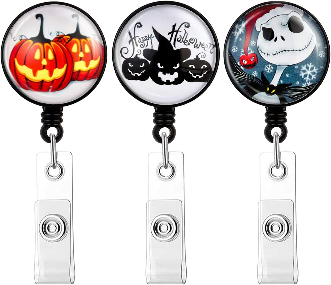【2020 Newest】HASFINE Retractable Badge Holders ID Badge Reel with Clip on ID Card Holders for Office Staff Nurse Doctor Teacher, Halloween 3 Pack