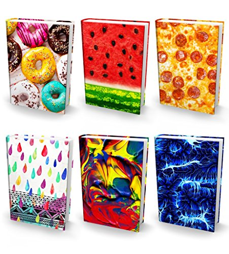 "Book Sox Stretchable Book Covers – Bundle of 6 Durable Hardcover Protectors For 9"" x 11"" Jumbo Textbooks – Washable & Reusable Non-Adhesive Nylon Fabric School Book Jackets In Jumbo Ultra Print 2018"