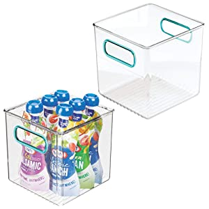 "mDesign Plastic Kitchen Pantry Cabinet, Refrigerator or Freezer Food Storage Bins with Handles - Organizer for Fruit, Yogurt, Snacks, Pasta - Food Safe, BPA Free, 6"" Cube, 2 Pack - Clear/Blue"