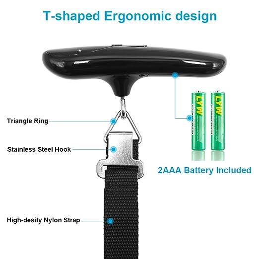 DeFe Báscula Digital de Equipaje Portátil 50kg/110lb con Ergonómica Pantalla LCD Función de Tara y Datos-Bloqueados, Balanza para Maletas de Viaje (Negro): ...