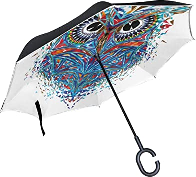 Totemic And Mascot Owl Double Layer Windproof UV Protection Reverse Umbrella With C-Shaped Handle Upside-Down Inverted Umbrella For Car Rain Outdoor