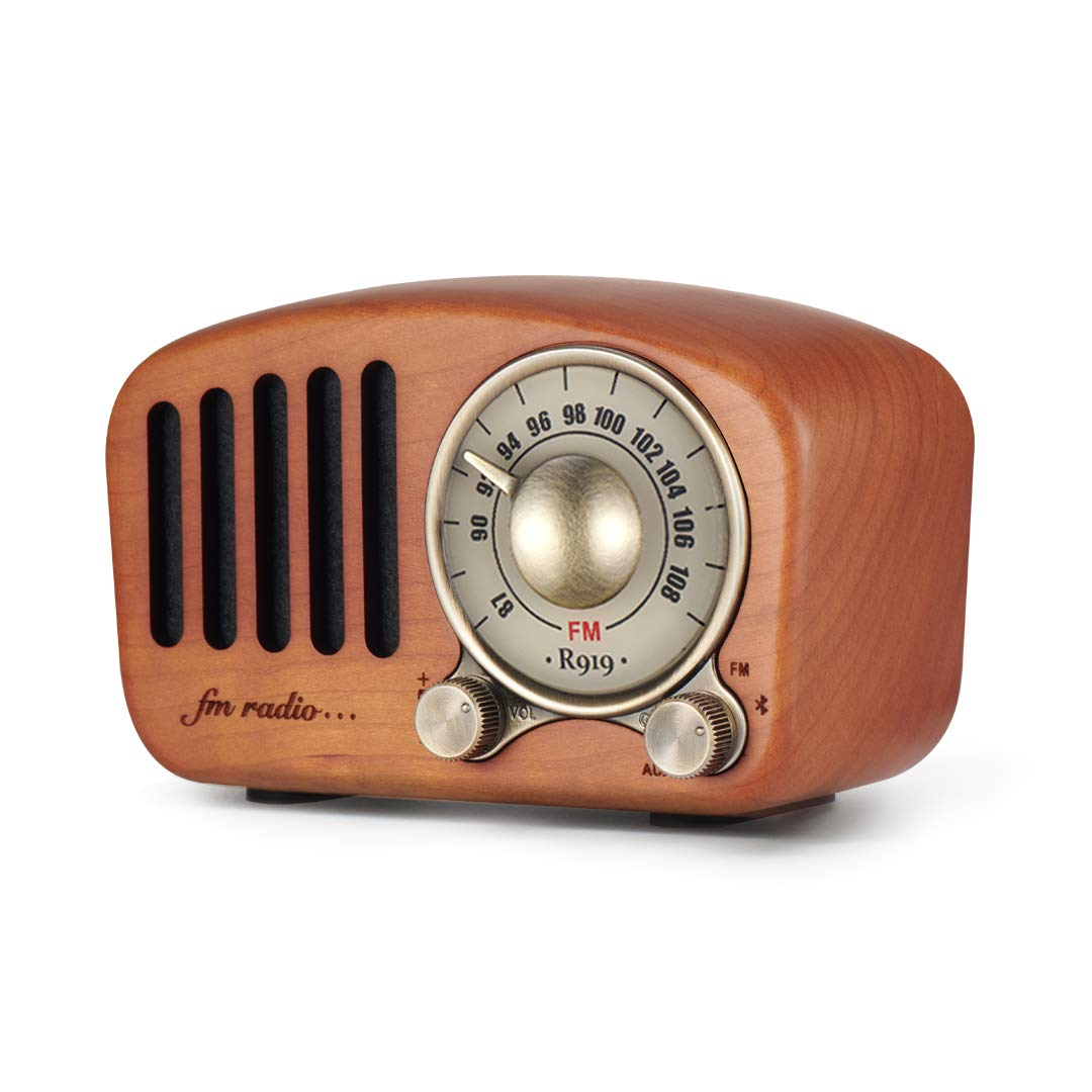 Vintage Radio Retro Bluetooth Speaker- Greadio Cherry Wooden FM Radio with Old Fashioned Classic Style, Strong Bass Enhancement, Loud Volume, Bluetooth 4.2 Wireless Connection, TF Card & MP3 Player