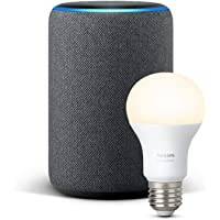Echo Plus (2.ª generación), tela de color antracita + Philips Hue White Bombilla LED E27