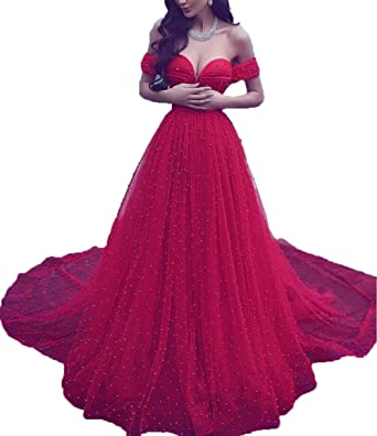 BRLMALL Womens Red Prom Dresses Off Shoulder Long Evening Party Dress