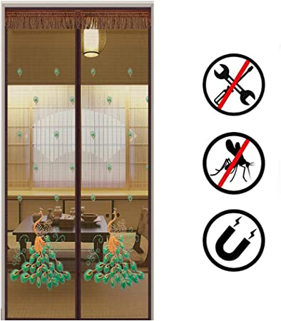 LUYION Mampara magnética eléctrica con mosquitero, Puerta Doble Exterior Cifrado de Servicio Pesado Cinta de Lazo de Gancho de Marco Cortina de Malla café Mosquitera Cerrar automáticamente,120X205cm: Amazon.es: Hogar
