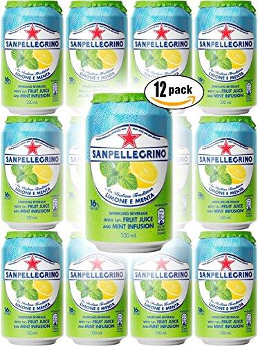 San Pellegrino Lemon & Mint, Lemone E Menta, Sparkling Fruit Beverage, 11.2oz Can (Pack of 12, Total of 268.8 (Di Menta Mint)