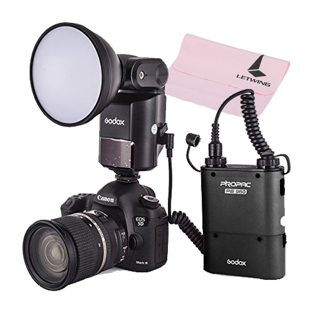 Godox Witstro AD360 Portable Flash Speedlite with 4500mah Black PB960 Power Lithium Battery Pack Kit for DSLR Camera