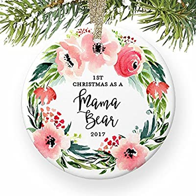 Amazon Com 1st Christmas As A Mama Bear New Mother Newborn Baby