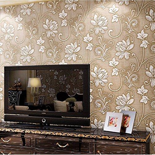 Bazaar 10m 3ft Floral 3d Non Woven Wallpaper Roll Embossed