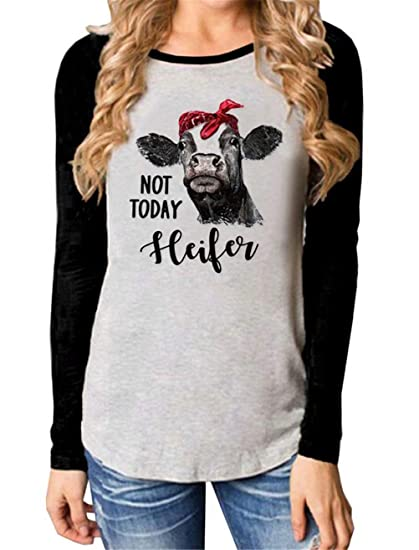 c1812a63ce Amazon.com  Not Today Heifer Shirt Cute Cow Printed Long Sleeve O Neck  Splcing Baseball Tshirt Blouse Top  Clothing