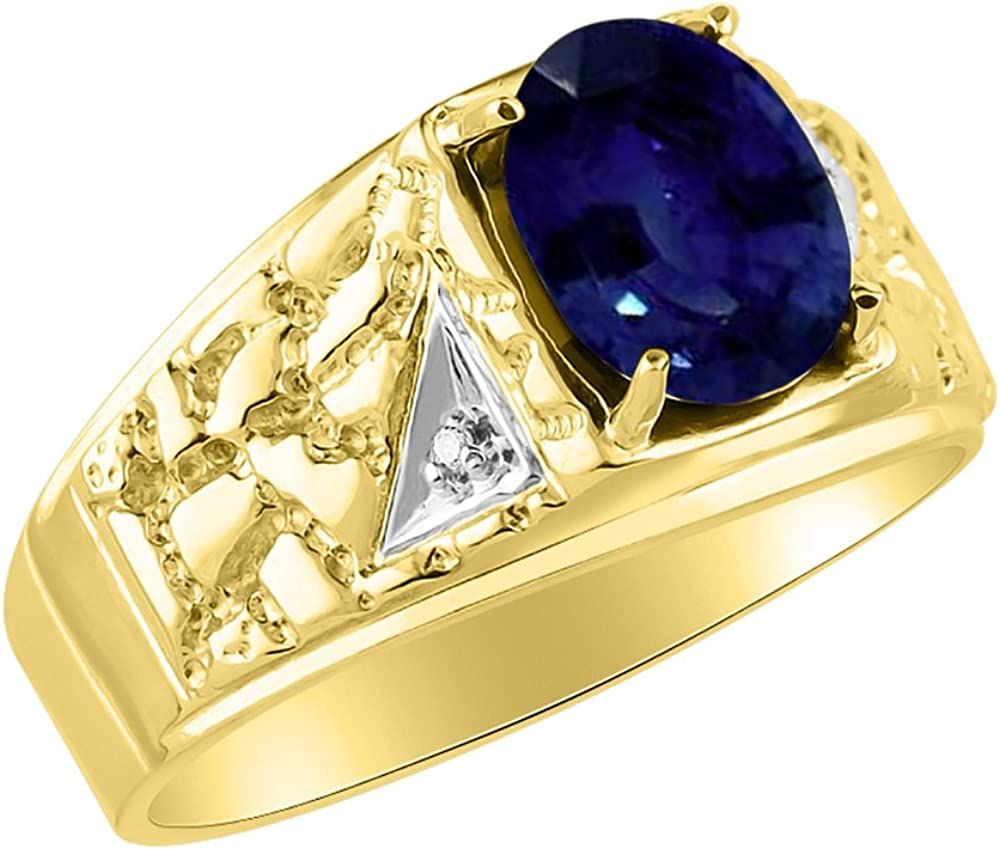Mens Sapphire /& Diamond Ring Sterling Silver or Yellow Gold Plated Band