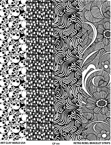 Retro Rebel Full Length Texture Sheet, 10in x 2in each of Skulls, Retrochip, Commas and Far Out by Art Clay World USA Low Relief Texture Plate
