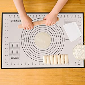 Silicone Pastry Mat with Measurements, Food Grade Silicone Mats for Kneading/Baking/Rolling Dough, 23.6 x 15.7 inch Non-Stick Baking Mats (Black)