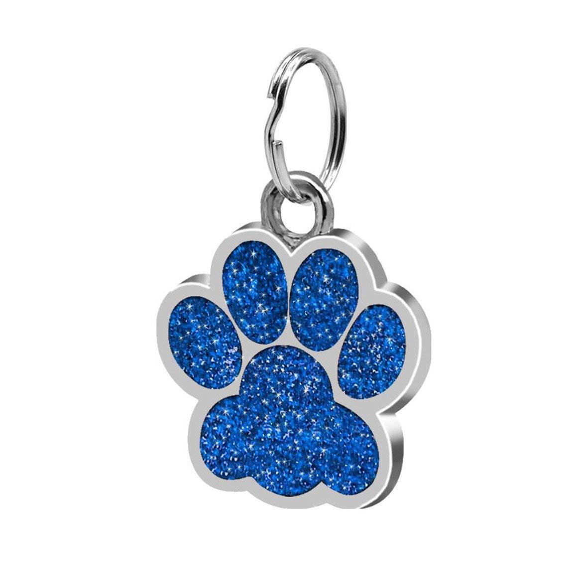 Color: Azul ID Fashion Footprints Pet Colgante Decoraci/ón Lovely Pet Jewelry Popular Glitter Footprint Tarjeta de Identidad Etiqueta de Perro Accesorios para Mascotas