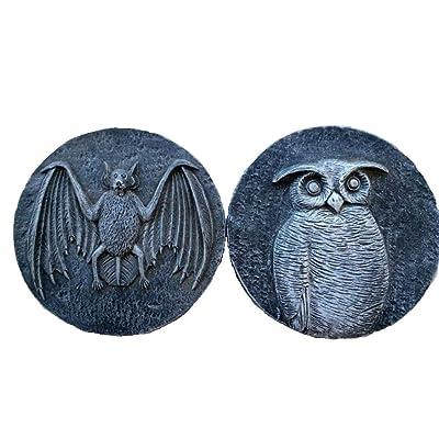 "Momentum Brands 2 Piece Set Black/Grey Halloween/Owl/Bat Cement Stepping Stones - 6.9""x 6.9""x 1"" : Garden & Outdoor"