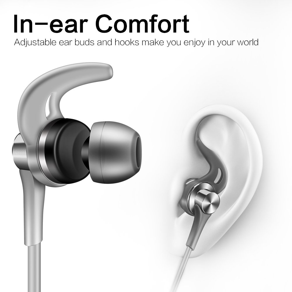 ONTBA SoundSport In-Ear Headphones Sweatproof with Mic Noise Cancellation Earbuds for Android Devices and More (Gray) by ONTBA (Image #3)