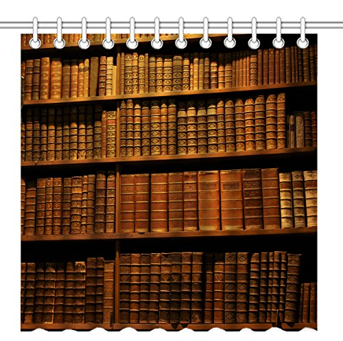 Wknoon 72 x 72 Inch Shower Curtain, Old Bible Books on the Vintage Bookshelf, Waterproof Polyester Fabric Decorative Bathroom Bath Curtains