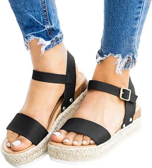Womens Ladies Flat Sandals Wedges Shoes Espadrille Summer Beach Platform Sandals