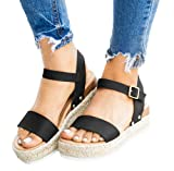 Ecolley Leather Sandals for Women Open Toe Wedge
