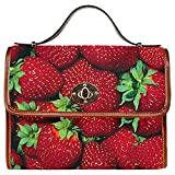 InterestPrint Fruit Strawberry Women's Canvas Messenger Crossbody Bag Handbags For Sale