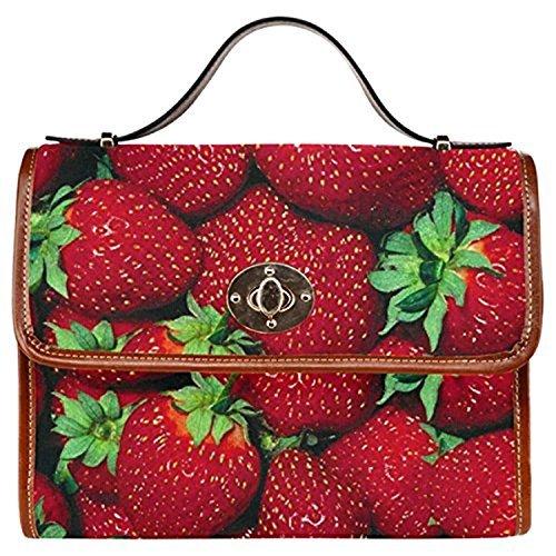 InterestPrint Fruit Strawberry Women's Canvas Messenger Crossbody Bag Handbags For Sale