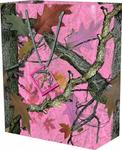 River's Edge Pink Fall Transitions Camouflage Design Gift Bag, Medium/10x13x5-Inch -