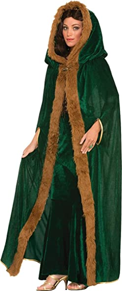Ladies Faux Fur Trimmed Cape Green