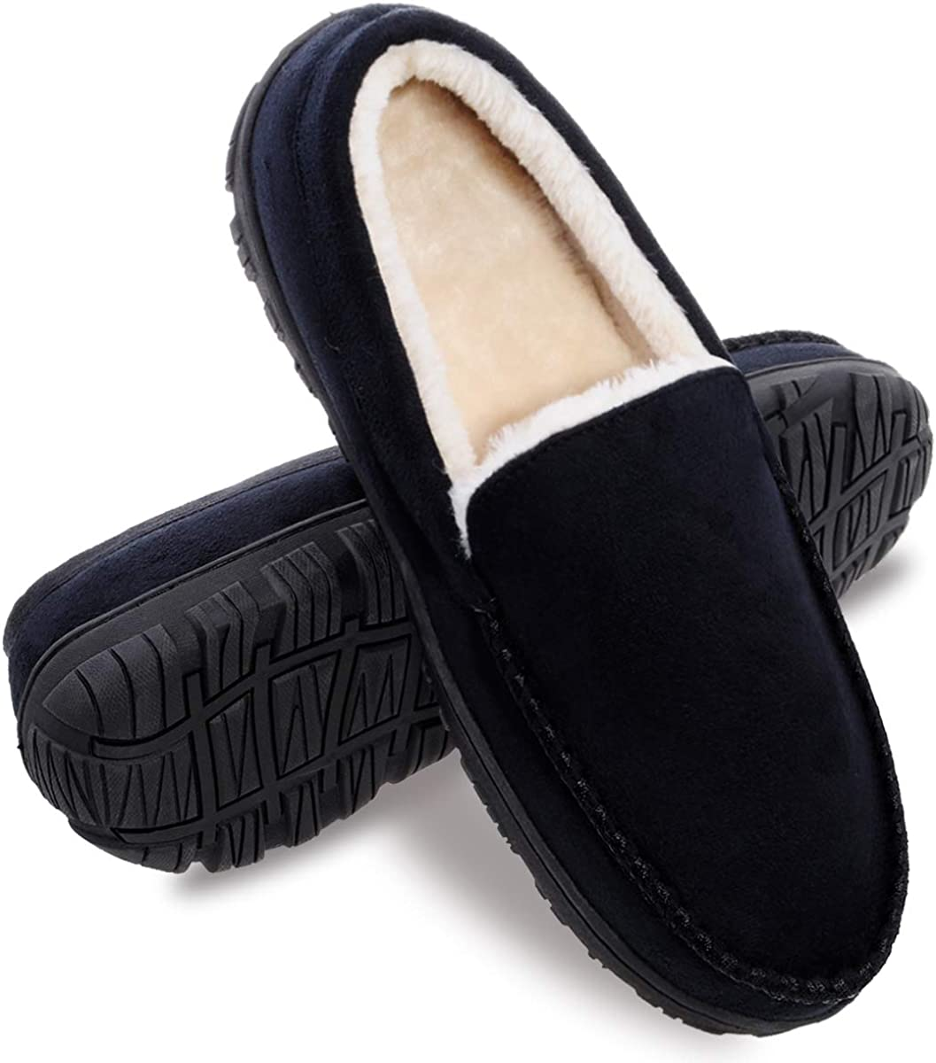Amazon.com | festooning Mens Slippers, House Shoes with Memory Foam,  Moccasin Slipper for Men with Anti-Skid Rubber Sole Indoor/Outdoor |  Slippers