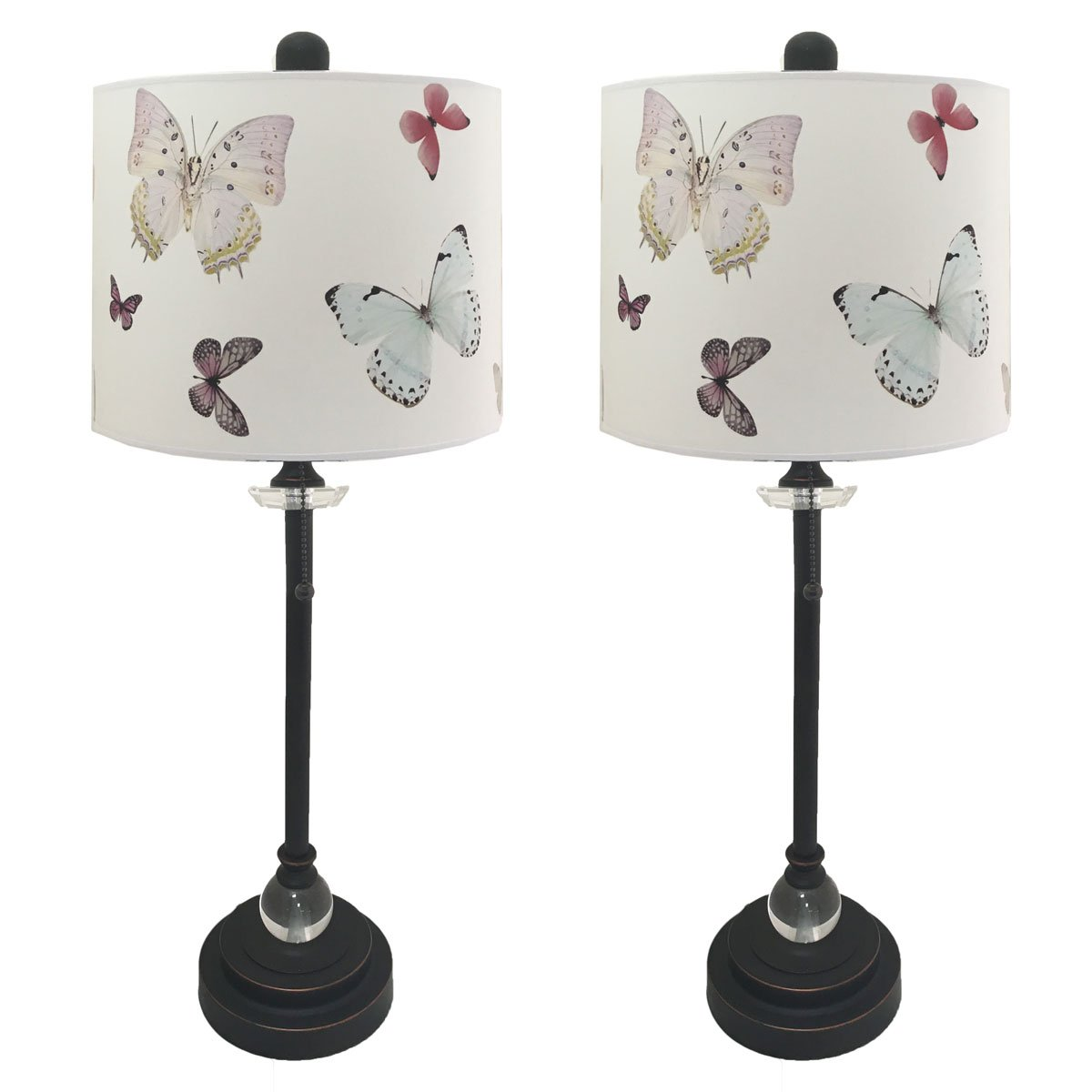Royal Designs 28'' Crystal and Oil Rub Bronze Buffet Lamp with Colorful Butterfly Design Hard Back Lamp Shade, Set of 2
