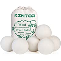 """Wool Dryer Balls XL 6 Pack 2.95"""", 100% Organic New Zealand Natural Fabric Softener, Hypoallergenic Baby Safe & Unscented, Reduce Wrinkles & Static Cling, Shorten Drying Time by Kintor"""